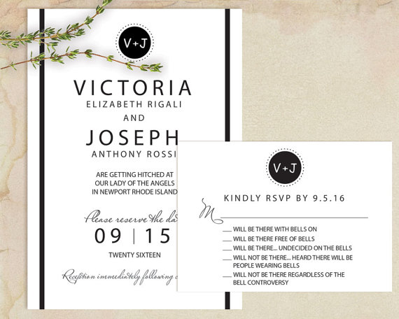 Funny Wedding Invitation in Black and White