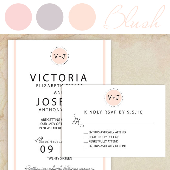 Funny Wedding Invitation in Champaign Blush