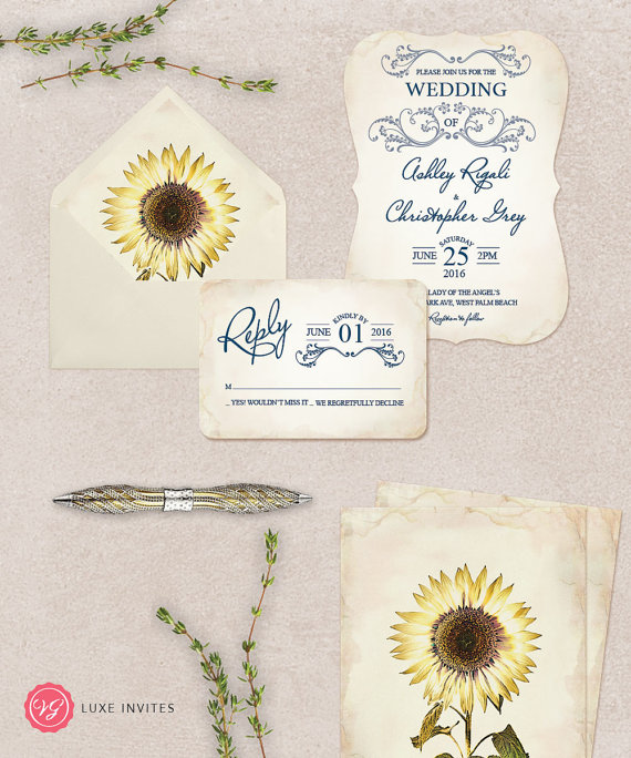 Sapphire Blue Wedding Invitation and Botanical Sunflower Envelope Liner